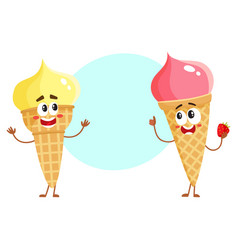 Two funny ice cream cone characters - strawberry vector