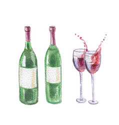 Two wine bottles and wineglasses vector