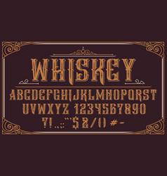 vintage decorative typeface on dark background vector image