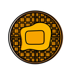 Waffles with butter icon vector