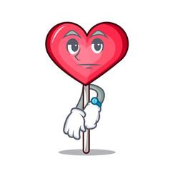 Waiting heart lollipop mascot cartoon vector