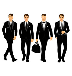 Wedding men s suit and tuxedo collection vector