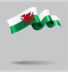 welsh pin wavy flag vector image