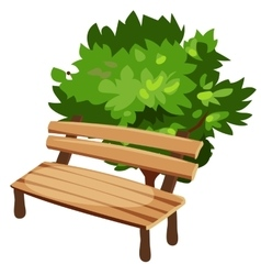 Wooden bench and tree cartoon style vector image