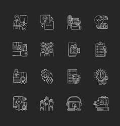 workshop chalk white icons set on black background vector image