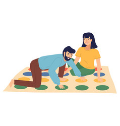 young couple playing twister at floor people vector image