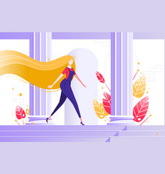 young girl walking among columns vector image