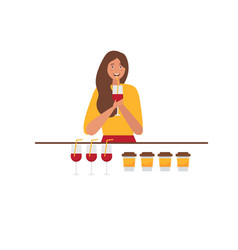 young red haired woman drinking wine vector image