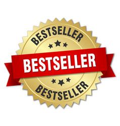 Bestseller 3d gold badge with red ribbon vector