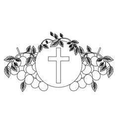 black silhouette with communion religious icons of vector image vector image