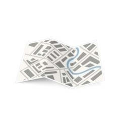Folding map of the city with shadow on white vector image vector image