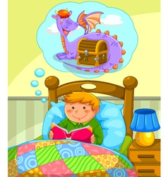 reading in bed vector image