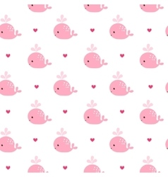 Cute background with cartoon pink whales vector image vector image