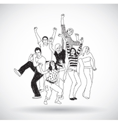 Group happy young people isolate black and white vector image