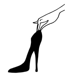 hand with shoe vector image