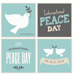 peace day symbols card collection vector image vector image