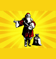 santa claus with a bag of money vector image