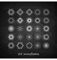 set of 25 graceful snowflakes on the blackboard vector image