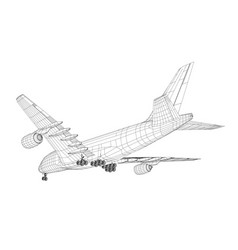 airplane in wire-frame style vector image vector image
