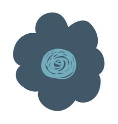 hand drawing dark blue flower vector image vector image