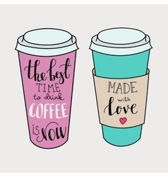 Lettering on coffee cup shapes set vector image