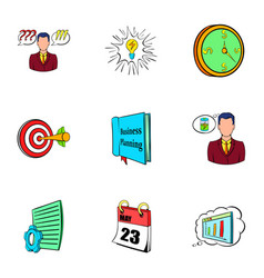 office life icons set cartoon style vector image vector image