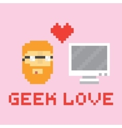 Pixel art style geek in love with computer vector image