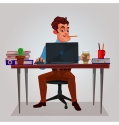 A man working on the laptop vector