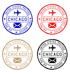 chicago mail stamps colored set of round impress vector image vector image
