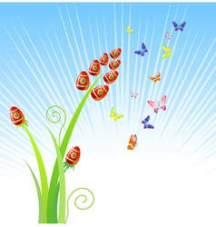 easter eggs-flowers with butterfly holiday ornam vector image vector image