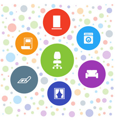7 interior icons vector