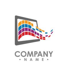 abstract data tech logo design tablet data share vector image