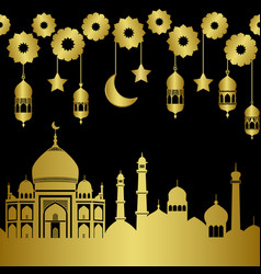 Abstract gold arab holiday city seamless pattern vector