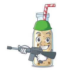 army banana smoothie on a cartoon table vector image
