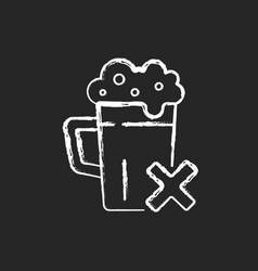Avoid alcohol chalk white icon on dark background vector