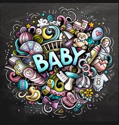 Baby hand drawn cartoon doodles vector