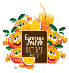 Banner for fresh juice with funny oranges vector