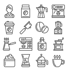 barista icons coffee drink equipment set vector image