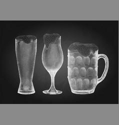 beer glasses in stippling technique vector image