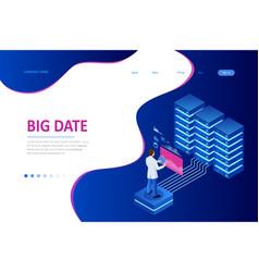 Big data storage and cloud computing technology vector
