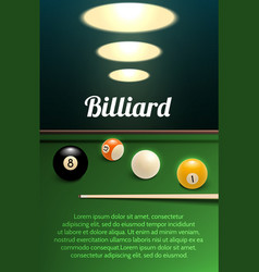 Billiards sport 3d banner with table ball and cue vector
