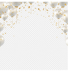 birthday border with white balloons transparent vector image
