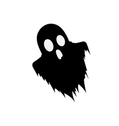 Black silhouette of scary ghost isolated on white vector