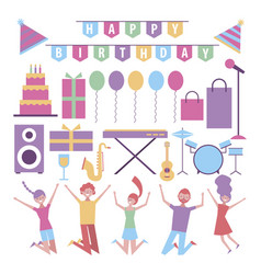 bundle people celebration and birthday items vector image