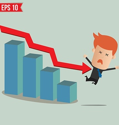 Business man fall from graph - - EPS10 vector