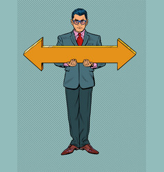 Businessman man with arrow pointers direction vector
