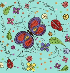 Butterfly lady bug Pattern vector image