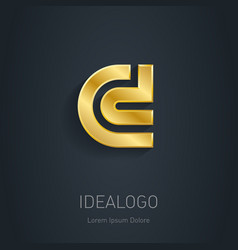 C and d initial gold logo metallic 3d icon vector