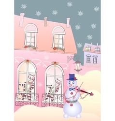 Card Snowman the Violinis and Cats vector