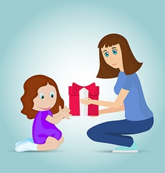 cartoon mother gives daughter the gift vector image